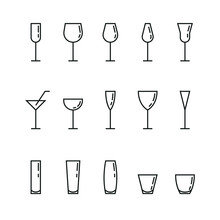 Bar Glasses Vector Icons Set
