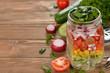 Fresh vegetable salad in Mason jar