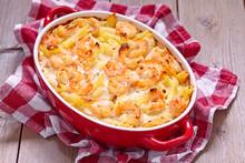 Shrimp Alfredo Penne Pasta Bake