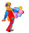 Happy birthday clown man holding bunch of balloons. Isolated.
