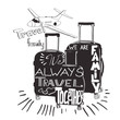 vintage lettering baggage for travel. Travel inspiration quotes