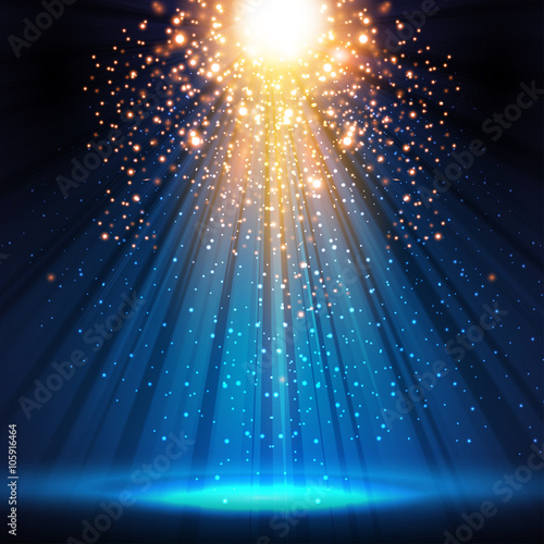 Poster Licht, schaduw stage, light, spotlight, empty scene illustration easy all edita