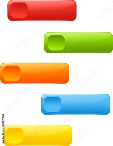 Fotografie, Obraz  Rectangle colored buttons