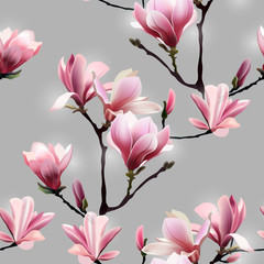 Seamless Vector pattern with blossom brunch of Magnolia.