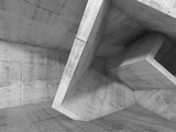 Gray Concrete room with 3d cubic structures