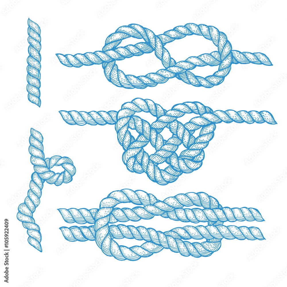 Fototapeta Set of engraved knots and ropes