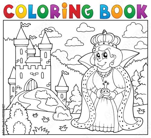 Foto op Plexiglas Voor kinderen Coloring book queen near castle