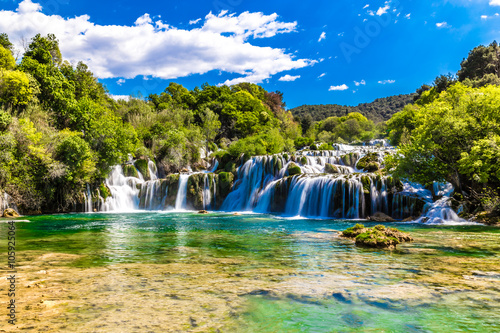Foto op Canvas Watervallen Waterfall In Krka National Park -Dalmatia, Croatia