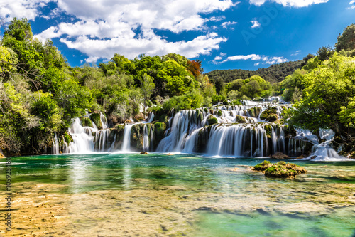 Fotobehang Watervallen Waterfall In Krka National Park -Dalmatia, Croatia