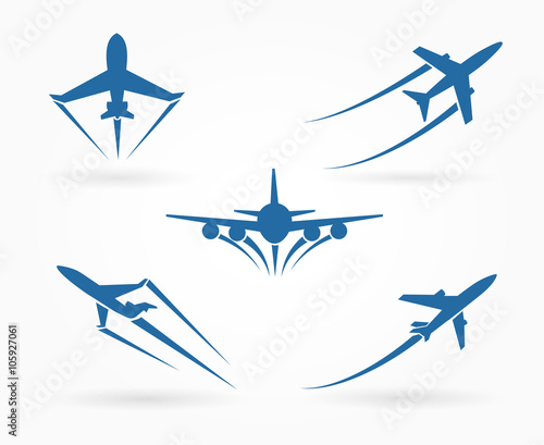 Fotografia Flying up airplane icons