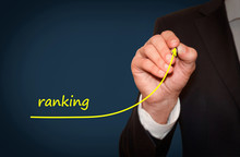 Businessman Draw Growing Line Symbolize Growing Ranking