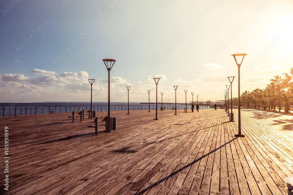 Fototapety, obrazy: Molos Promenade on the coast of Limassol city, Cyprus