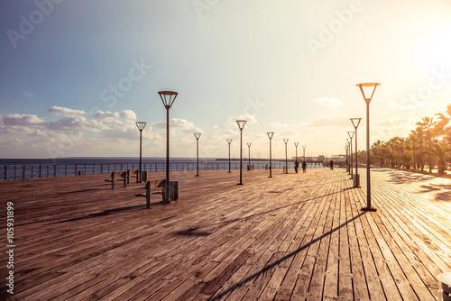 Obraz na plátně Molos Promenade on the coast of Limassol city, Cyprus