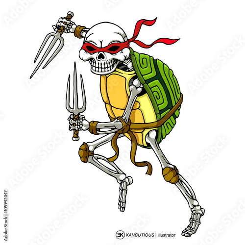 Fotografie, Obraz  skull turtle ninja with trident in hand isolated white background