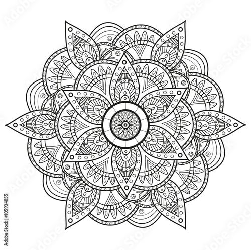Photo  Black and white mandala vector, mandala in bianco e nero da colorare vettoriale