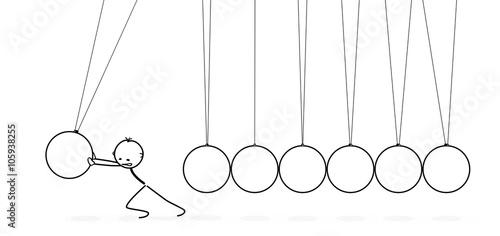 Sieben weiße 2D Vektor Pendel in einer Reihe - Strichmännchen stößt Pendel an Wallpaper Mural