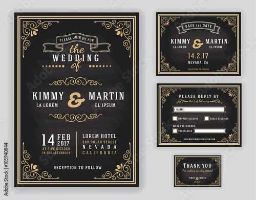 Obraz Luxurious wedding invitation on chalkboard background. Include Invitation, RSVP card, Save the date, Thank you card. Vector illustration - fototapety do salonu
