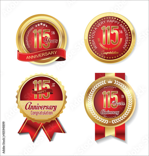 Poster  Anniversary golden badges collection 115 years