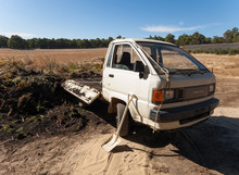 Western Australia, Australia, 02/10/2016, Old Toyota Townace Mini Van Delivering Soil And Plants For Composting