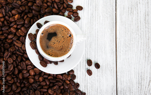 Foto op Canvas Cafe coffee cup and beans
