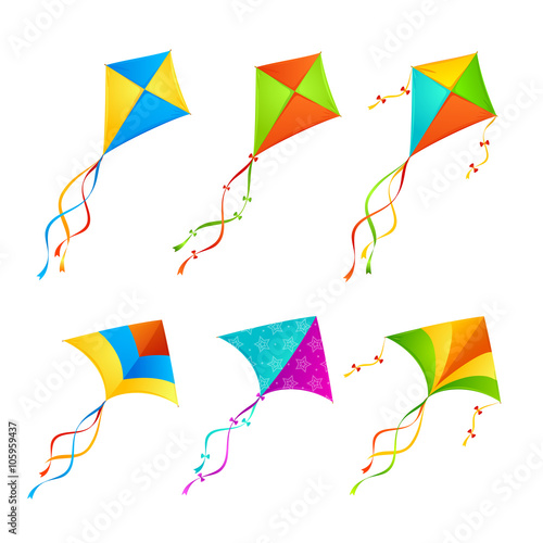 Photo Colorful Kite Set. Vector