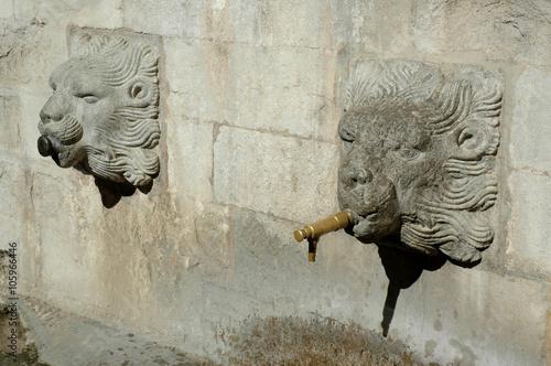 Spoed Foto op Canvas Fontaine Gérone, Espagne, tête de lions ornant une fontaine près de la cathédrale