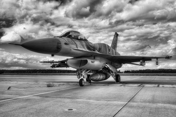 FototapetaMilitary aircraft in Base
