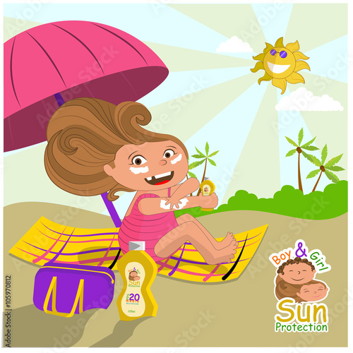 Foto op Canvas Magische wereld niña con su protector solar