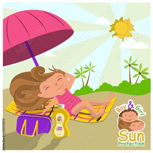 Foto op Canvas Magische wereld niña tomando el sol en verano