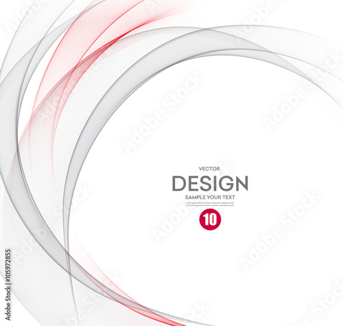 Abstract vector background, gray and red wavy