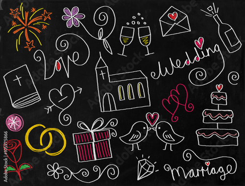 Obraz na plátně A digitally created chalkboard with a set of hand drawn doodle wedding icons