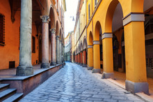 Historical Street In Bologna, Italy