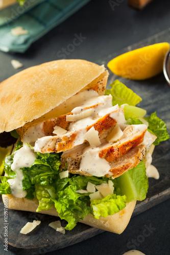 Poster Picnic Homemade Chicken Caesar Sandwich