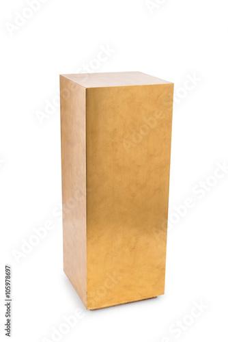 Fotografie, Obraz  Tall Golden Rectangular Pedestal Cut-out