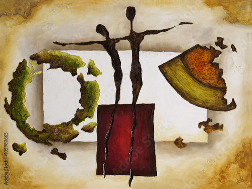Obraz w ramie Abstract painting artwork on canvas