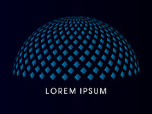 Abstract Building, Dome, Designed Using Blue Square Geometric Shape