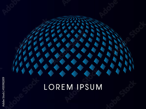 Fotografia Abstract Building, dome, designed using blue square geometric shape
