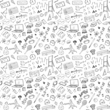 Back To School Seamless Pattern With Hand-Drawn Doodles. Sketch Element Background Vector Illustration