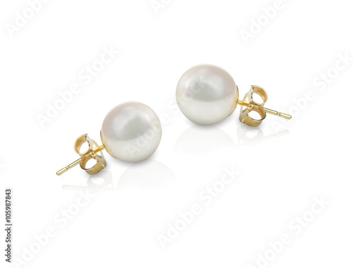 Tablou Canvas White pearl pieced earrings pair fine jewelry isolated on white