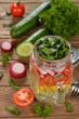 Vegetable salad in Mason jar