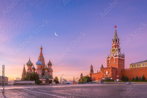 Poster Moscow St. Basil's Cathedral and Spasskaya tower on Red Square, Moscow Kremlin