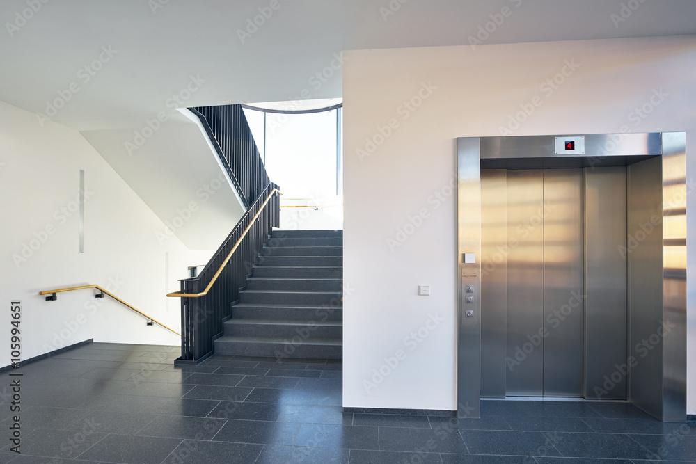 Photo Art Print Treppenhaus Modern Gebäude Fenster Aufzug