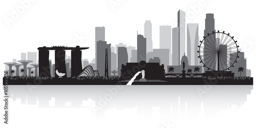 Singapore city skyline silhouette Poster