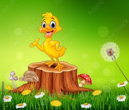Photo  Cartoon funny duck presenting on tree stump in summer season background