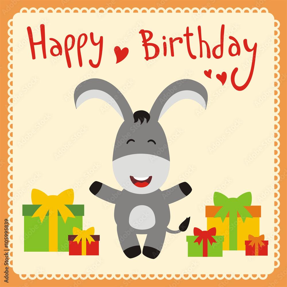 Photo & Art Print Happy birthday! Funny little donkey with