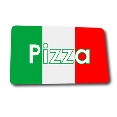 Obraz na Szkle Do pizzerii Icono plano Pizza en rectangulo con badera Italia y sombra