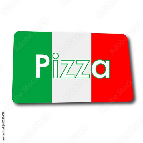 Icono plano Pizza en rectangulo con badera Italia y sombra - 105996018
