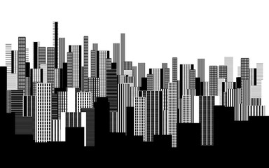 Plakat a two colors graphical abstract urban landscape wallpaper in black and white