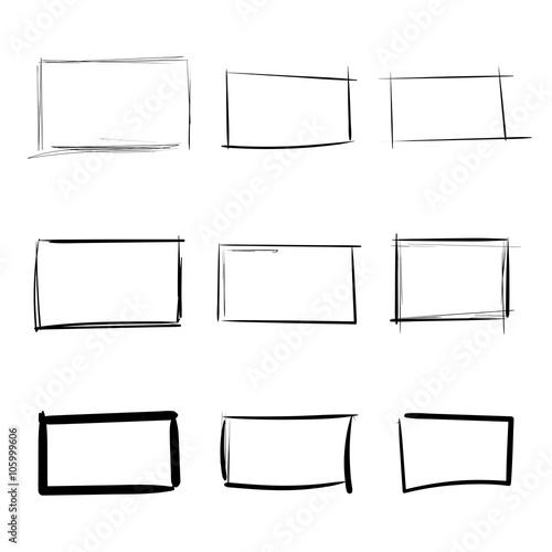 Fotografie, Obraz  Rectangle templates hand drawn simple set