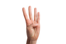Isolated Hand Shows The Number Four.